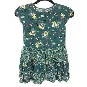 GAP floral ruffed green short sleeve kids dress